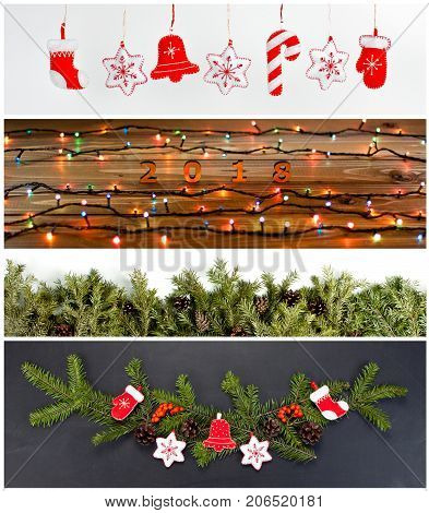 Set of Christmas and New Years decorations for your design