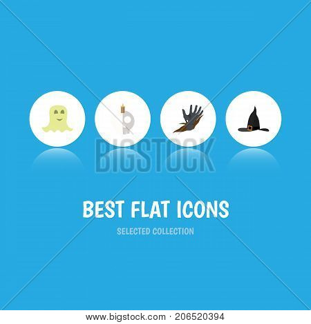 Flat Icon Festival Set Of Witch Cap, Zombie, Cranium And Other Vector Objects