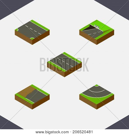 Isometric Way Set Of Road, Incomplete, Single-Lane And Other Vector Objects
