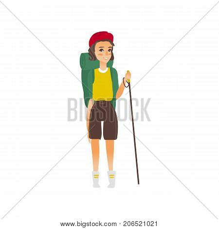 vector flat cartoon beautiful young girl hiking tourist smiling wearing backpack, watches cap trekking pole stick. Isolated illustration on a white background.