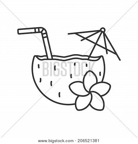 Beach cocktail linear icon. Thin line illustration. Pina colada cocktail with straw, umbrella and plumeria flower. Contour symbol. Vector isolated outline drawing