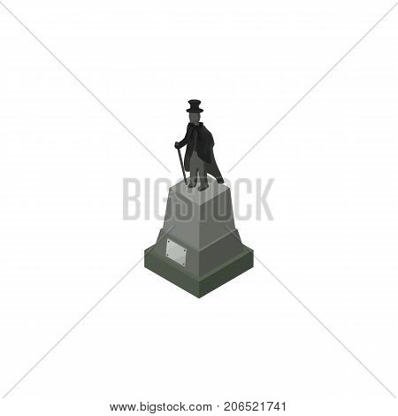 Sculpture Vector Element Can Be Used For Statue, Sculpture, Monument Design Concept.  Isolated Statue Isometric.