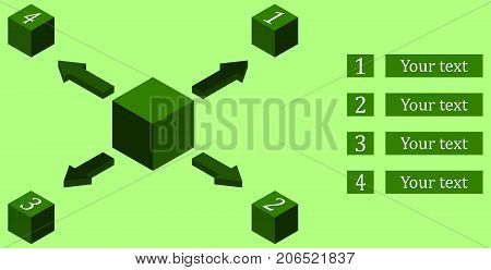 Elements of infographic in the form of a cube from which the four smaller cubes come out. Green color Vector illustration