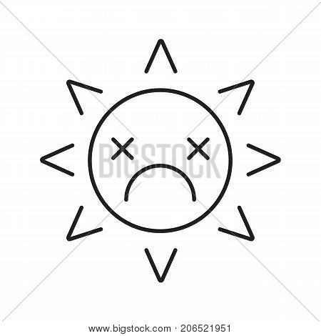 Dead sun smile linear icon. Tired, depressed smiley face thin line illustration. Bad mood. Global warming concept. Emoticon contour symbol. Vector isolated outline drawing