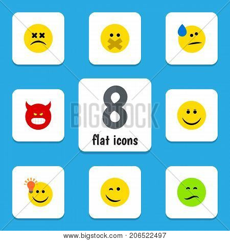 Flat Icon Emoji Set Of Cross-Eyed Face, Have An Good Opinion, Pouting And Other Vector Objects