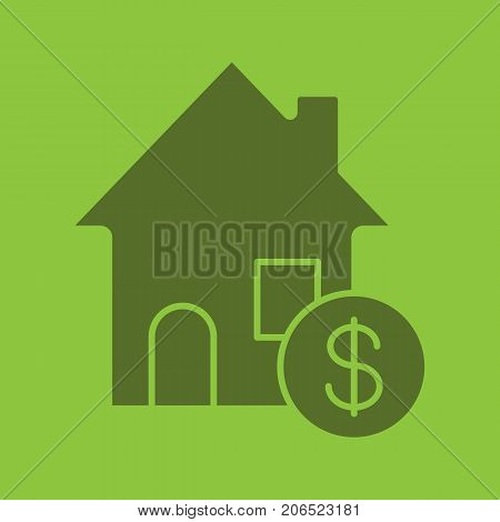 Real estate purchase glyph color icon. Silhouette symbol. Rental house with dollar sign. Negative space. Vector isolated illustration
