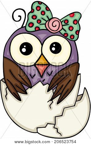 Scalable vectorial image representing a cute owl girl in broken egg, isolated on white.