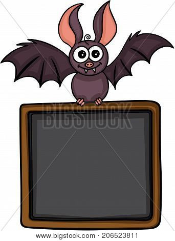 Scalable vectorial image representing a happy bat with blackboard background, isolated on white.