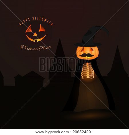 Pumpkin head Halloween character. Holiday vector personage usable for posters greeting cards backgrounds