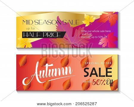 Mid Season sale web banners set. Fall maple leaves abstract background with text Autumn Sale, Special offer Save up to half price 50% off. Vector