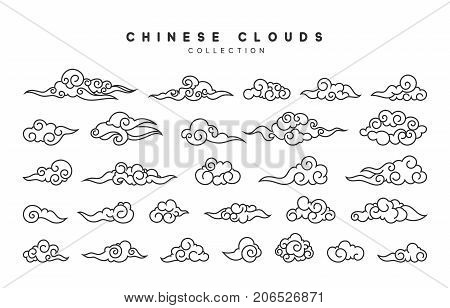 Collection of gray clouds, isolated in Chinese style.