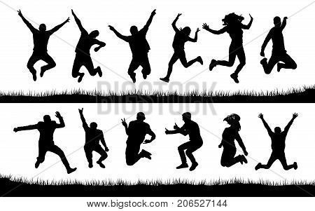 Happy jumping many people silhouettes , vector
