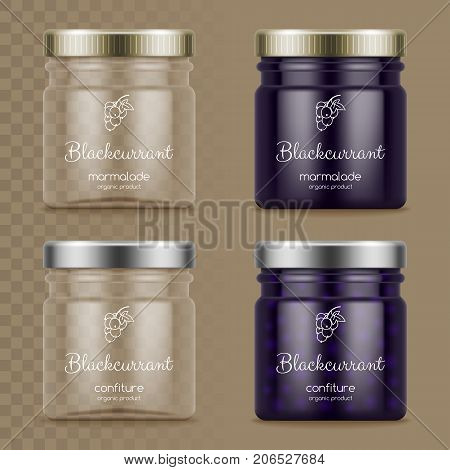 Glass jars with marmalade and confiture. Empty glass jars on transparent background. Vector illustration