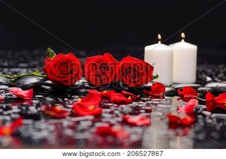 Still life with three red rose, petals, with white candle and therapy stones