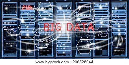 Big data concept on blurred server racks in data center room