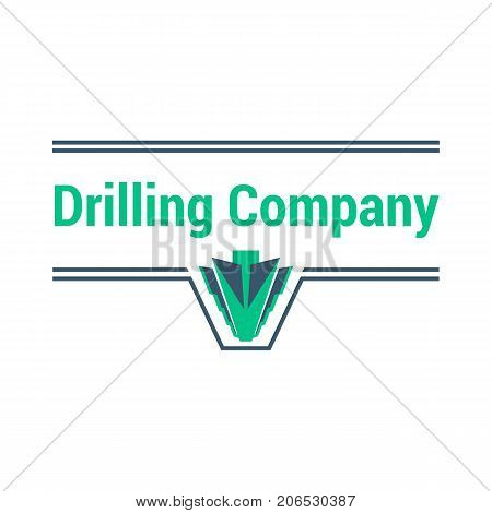 Vector logo template for drilling company. Illustration of drill bit isolated on white background. Geological prospecting sign. EPS10. Horizontal drilling icon.