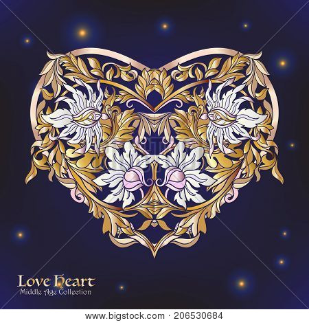 Decorative Love Heart in rococo, victorian, renaissance, baroque, royal style. Good for greeting card for birthday, invitation or banner. Vector illustration. Gold on black background.