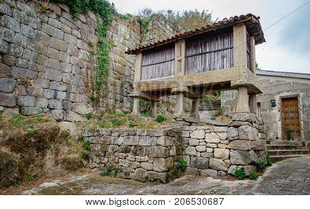 Antique Horreo, vintage street, typical spanish granary panorama
