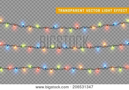 Christmas lights isolated realistic design elements. Glowing lights for Xmas Holiday greeting card design. Garlands decorations. Led neon lamp