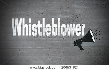 Whistleblower on concrete wall concept background picture