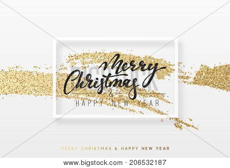 Christmas and New Year background with shining gold paint brush. Xmas greeting card,