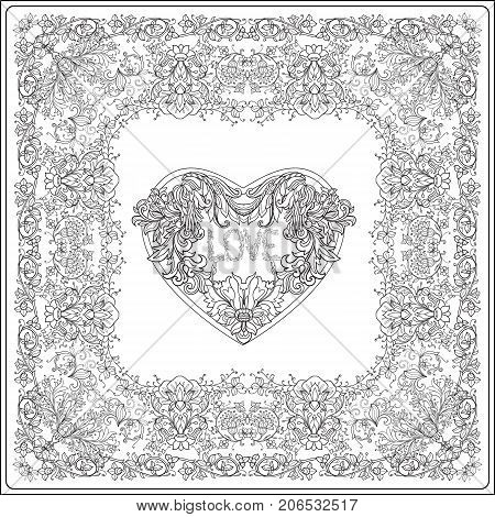 Decorative Love Heart in rococo, victorian, renaissance, baroque, royal style. Greeting card for birthday, invitation or banner. Vector illustration. Coloring book for adult and older children. Outline drawing coloring page.