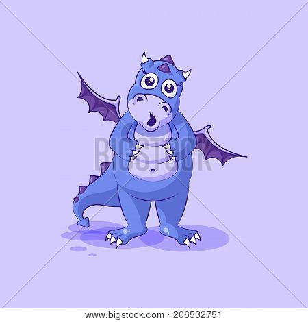 Vector Stock Illustration isolated Emoji character cartoon dragon dinosaur surprised with big eyes sticker emoticon for site, info graphics, video, animation, websites, mail, newsletters, reports