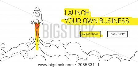 Minimalistic rocket launch line icon. Rocket illustration wit clouds, space and launch fire isolated on simple background
