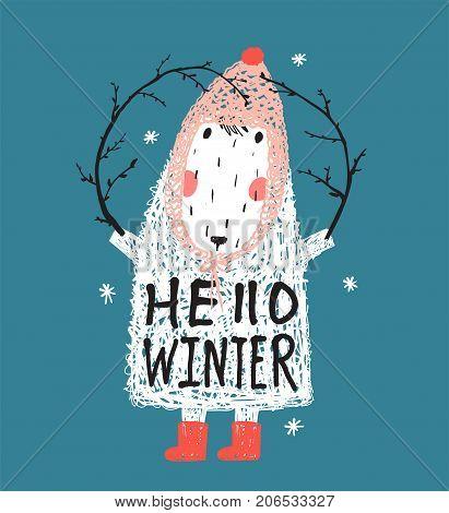 Quirky seasonal greeting card cartoon. Vector illustration.