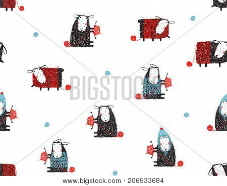 Craft knitting with needles sheep, transparent background. Vector illustration.