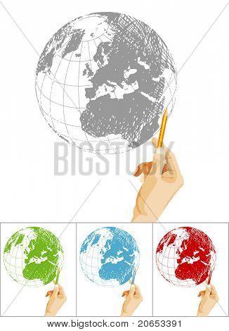 drawing  the globe