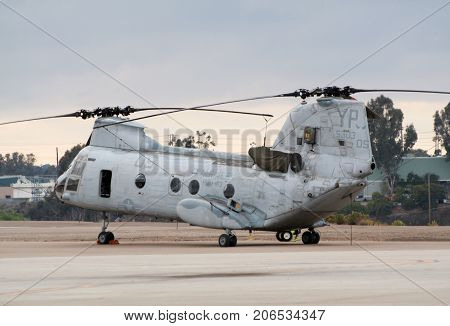 MIRAMAR CALIFORNIA USA - OCTOBER 15: US Marines CH-46 Sea Knight helicopter on the apron after it's performance at the Miramar Air Show October 15 2006 in Miramar California USA.