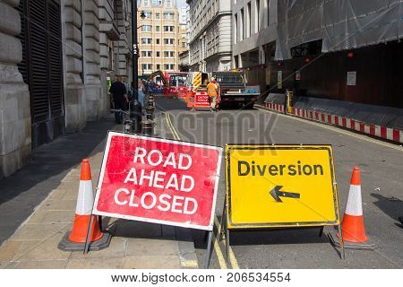 LONDON UK - JUL 2 2015: Road Ahead Closed and Diversion signs in a street of London during construction work.