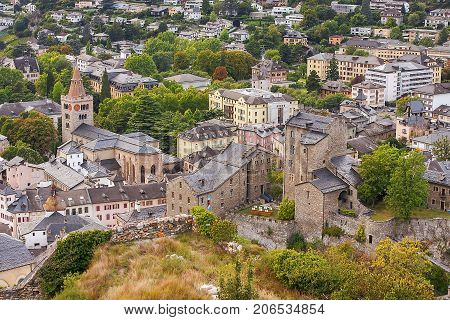 top view of the city Sion, capital of the swiss canton of Valais and of the district of Sion, Switzerland