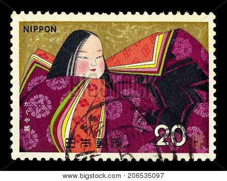 JAPAN - CIRCA 1974: A stamp printed in Japan shows moon princess in the tale of the Bamboo Cutter, series