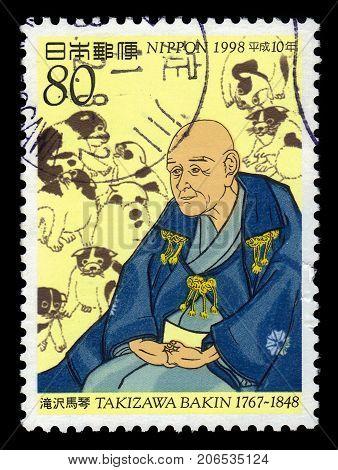 JAPAN - CIRCA 1998: A stamp printed in Japan shows Bakin Kyokutei (1767-1848), was a late japanese edo, period gesaku, circa 1998