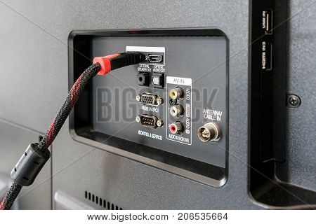 Input Output Panel on the back of an LCD / LED Television