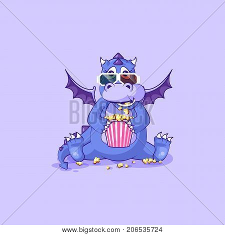 Vector Stock Illustration Emoji character cartoon dragon dinosaur chewing popcorn, watching movie 3D glasses sticker emoticon for site, infographic, video, animation, website, mail, newsletter, report