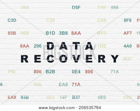 Data concept: Painted black text Data Recovery on White Brick wall background with Hexadecimal Code