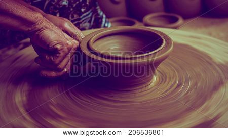 Pottery hand make up potterywares. Pottery is the ceramic material which makes up potterywares