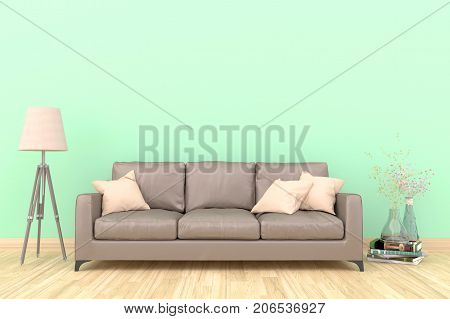 Minimal green living room interior with blown fabric sofa, lamp, and plants on empty green wall background.3d rendering.