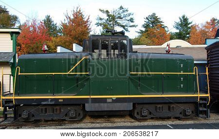 Diesel Locomotive at Lincoln Woodstock, New Hampshire, USA.