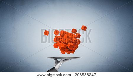 Cropped image of waiter's hand in white glove presenting multiple cubes on metal tray with blue background. 3D rendering.