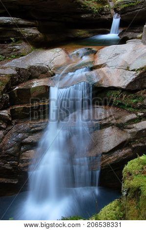 Sabbaday Falls off the Kancamagus Highway in the White Mountain National Forest of New Hampshire, New England, USA.