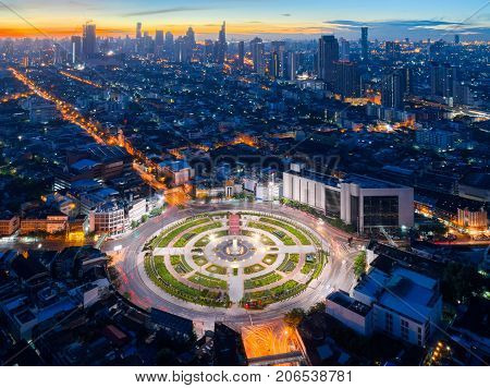 Bangkok city view point from rooftop of building in the Bangkok city downtown in blue sky and city light Bangkok is the most populated city in Southeast Asia. Bangkok Thailand