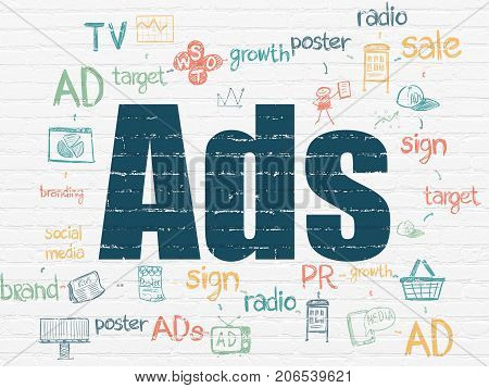 Advertising concept: Painted blue text Ads on White Brick wall background with Scheme Of Hand Drawn Marketing Icons