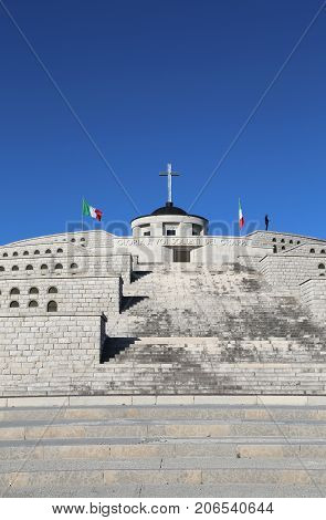 Vicenza, Vi, Italy - December 8, 2015: War Memorial Of First War World Called Ossario Monte Grappa W