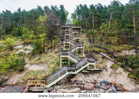 Huge stairs on a Kawcza Gora mount in Miedzyzdroje village over Baltic Sea Poland