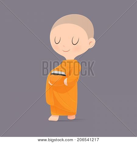 Cartoon Buddhist Monk Of Southeast Asia. Receive Food Offerings. Vector illustration.