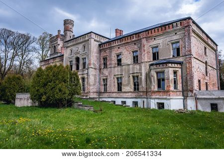 Ruined palace in Drezewo near Baltic Sea coast Poland